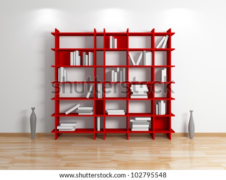 Modern shelf.Isolated on white background.3d rendered. - stock photo