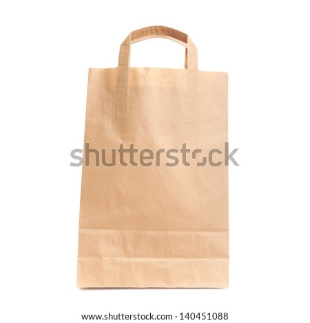 Modern shopping paper bag isolated on white. Front view - stock photo