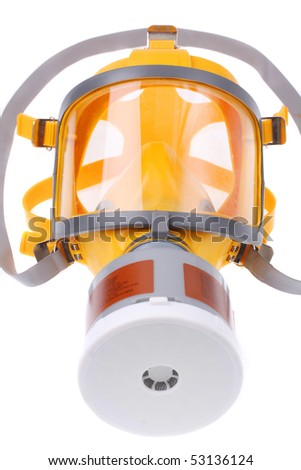 Modern silicone rubber gas mask on white background - stock photo
