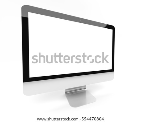 Modern silver and black metallic computer with blank screen 3D rendering