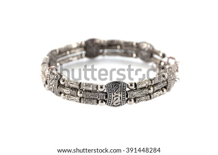 Modern silver bracelet style isolated on white background