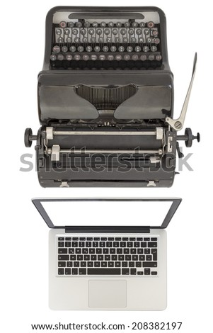 Modern silver laptop and an old black typewriter isolated on white background