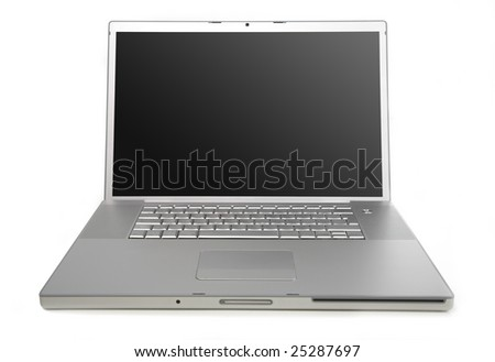 modern silver laptop isolated front view