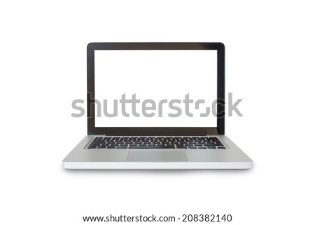Modern silver laptop isolated on white background - stock photo