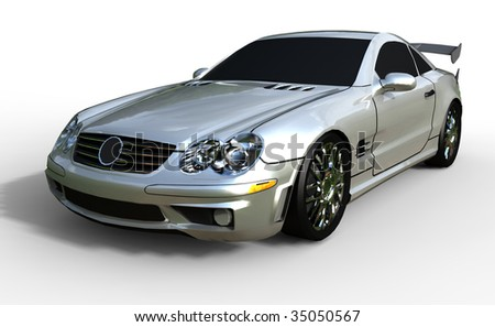 Modern Silver Sports Car - isolated