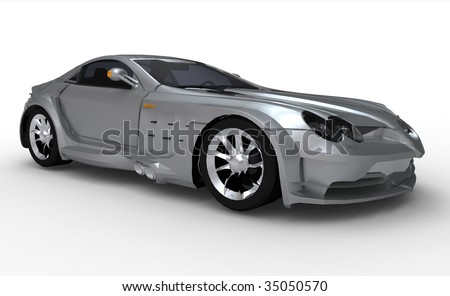 Modern Silver Sports Car - isolated - stock photo