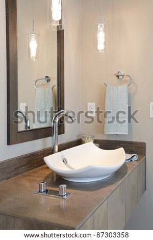 Modern Sink in Newly Constructed Bathroom - stock photo
