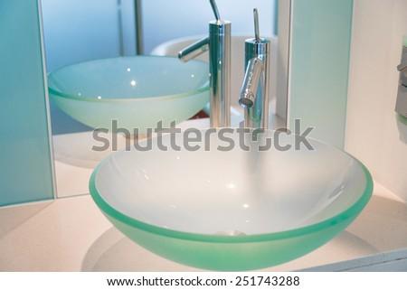 Modern sink in the bathroom - stock photo