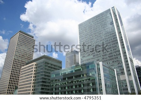 modern skyline of London Docklands England
