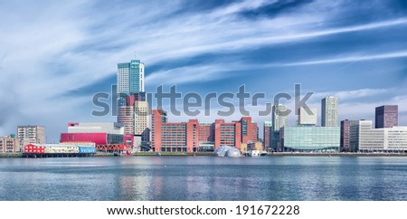 modern skyline of Rotterdam.  - stock photo