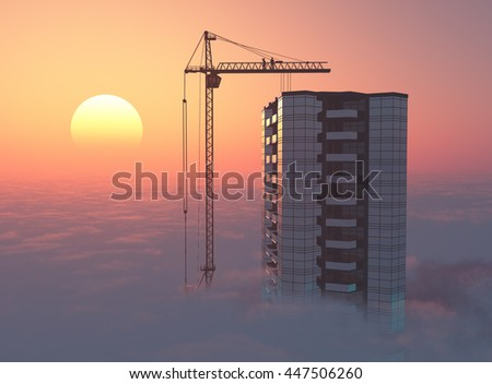 Modern skyscraper above the clouds at sunset.3d render
