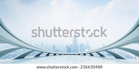 modern skyscraper looking from futuristic style window (created by C4D) - stock photo