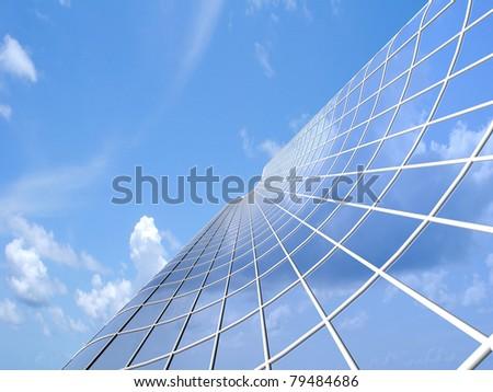 Modern skyscraper on cloudscape background - stock photo
