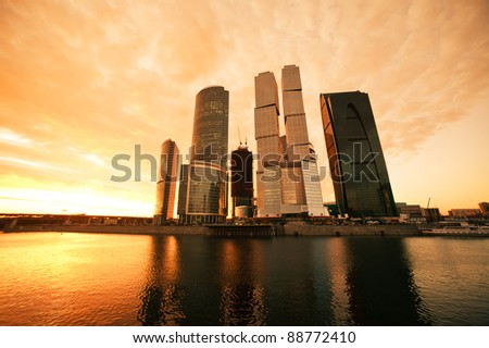 Modern skyscrapers business centre in Moscow at sunset, Russia - stock photo