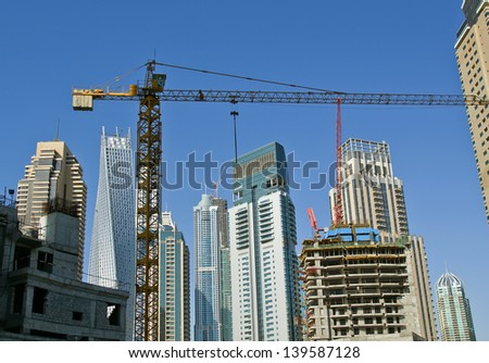 Modern skyscrapers, Dubai Marina, Dubai, United Arab Emirates - stock photo