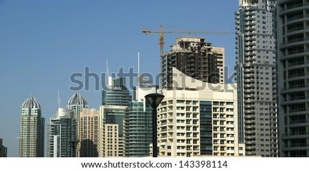 Modern skyscrapers, Dubai Marina, Dubai, United Arab Emirates - stock photo