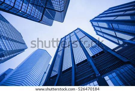Modern skyscrapers in a business district