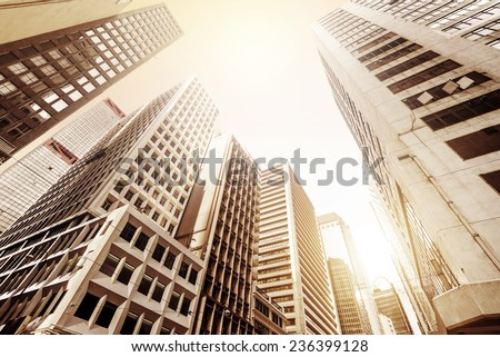Modern skyscrapers in Central, Hong Kong - stock photo