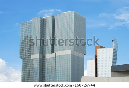 modern skyscrapers in rotterdam, netherlands - stock photo