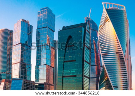 Modern skyscrapers  of business center in Moscow at sunset  - stock photo