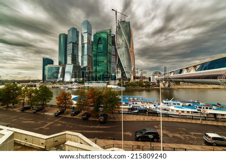 Modern skyscrapers of Moscow city business center, Russia - stock photo