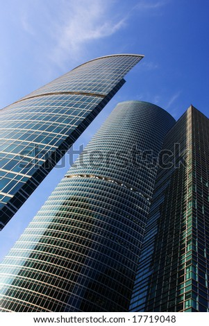 Modern skyscrapers on a bright blue sky background
