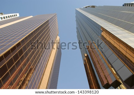 Modern skyscrapers, Sheikh zayed road, Dubai, United Arab Emirates. Dubai is the fastest growing city in the world. - stock photo