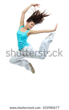 modern slim hip-hop style teenage girl jumping dancing isolated on a white studio background