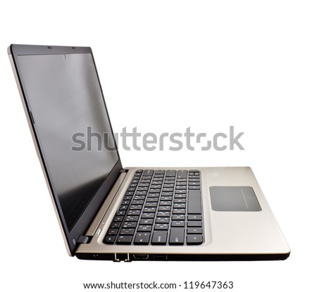 modern slim notebook computer isolated on white background