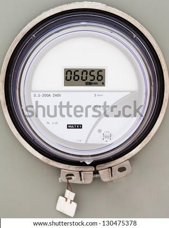 Modern smart grid residential digital power supply meter - stock photo