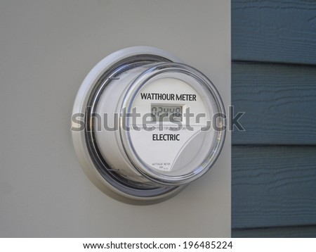 Modern smart grid residential digital power supply meter  - stock photo