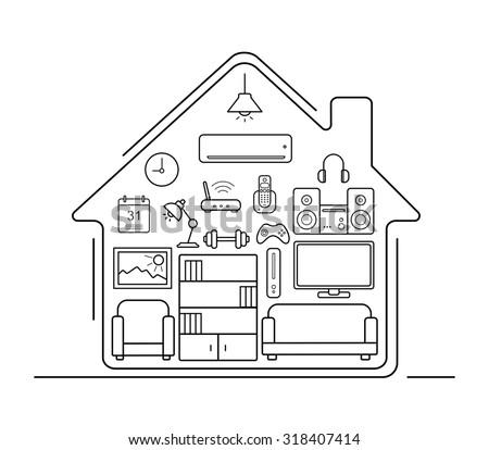 Modern smart home thin line art stock vector 297466688 for Living room outline
