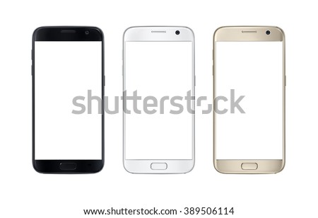 Modern smart phone in three color. White screen for mockup, isolated. - stock photo