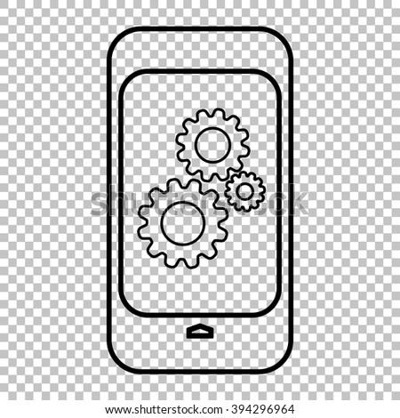 Modern smart phone line icon on transparent background - stock photo