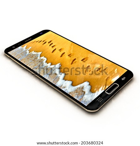 Modern smart phone with full screen background image. Image contains ocean wave wash away human footprints on sand at the beach. - stock photo