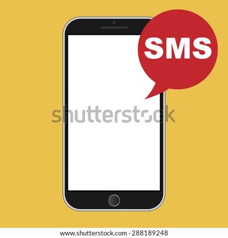 Modern smart phone with SMS icon - stock photo