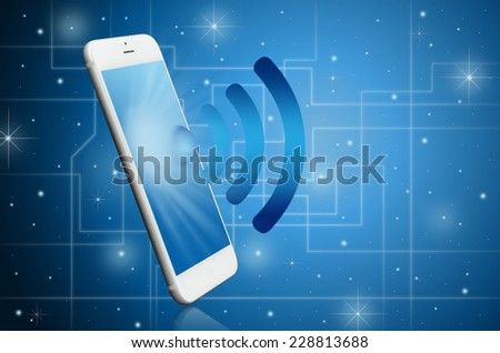 Modern smart phone with WiFi signal ; Technology concept - stock photo