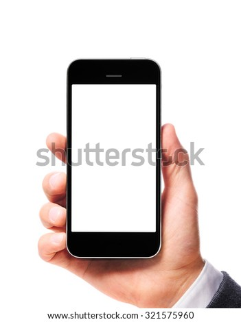 modern smartphone with blank screen in businessman hand isolated on white background - stock photo