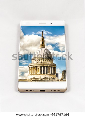 Modern smartphone with full screen picture of London, UK. Concept for travel smartphone photography. All images in this composition are made by me and separately available on my portfolio