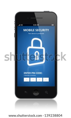 Modern smartphone with mobile security application interface on a screen. Isolated on white background - stock photo