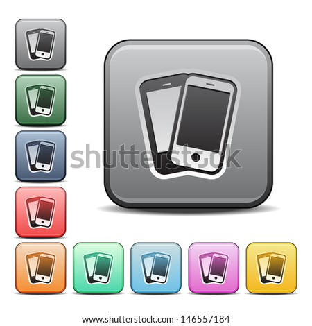Modern Smartphones Icon with Color Variations.  Raster version, vector also available. - stock photo