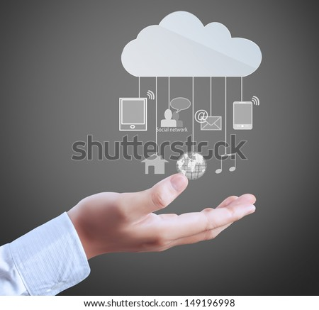 modern social buttons in a hand  - stock photo