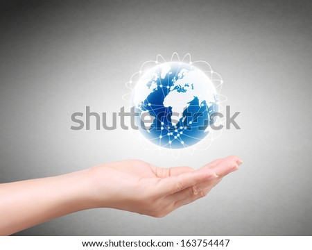 modern social buttons in the hand