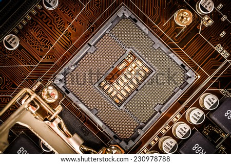Modern socket motherboard for a home computer - stock photo