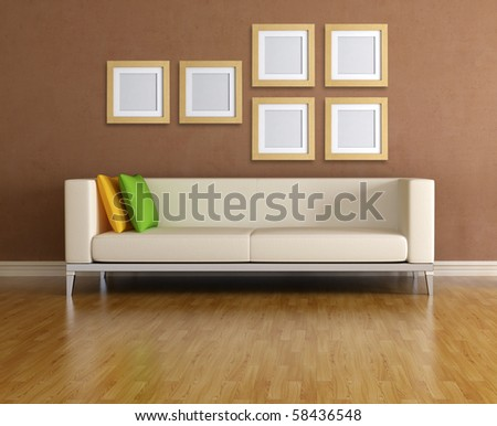 modern sofa and empty wooden frame - rendering - stock photo