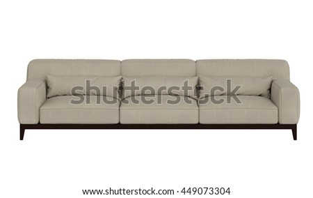 Modern sofa front view  isolated on white background - stock photo