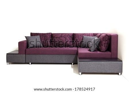 Modern sofa furniture not isolated on white background