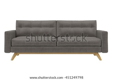 Modern Sofa grey fabric isolated on white background - stock photo
