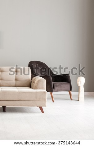 modern sofa living room with statue and floor  - stock photo