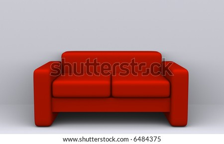 Modern sofa on white background - 3d render